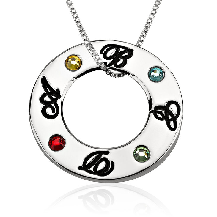 Family Initials Birthstone Necklace  - Picture 4