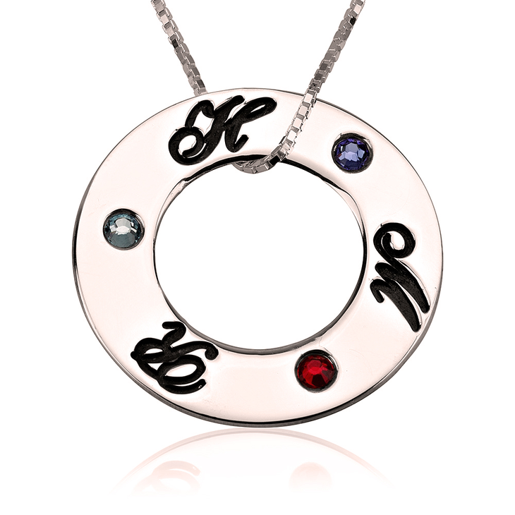 Family Initials Birthstone Necklace