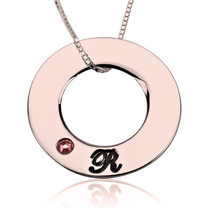 Family Initials Birthstone Necklace - Picture 2