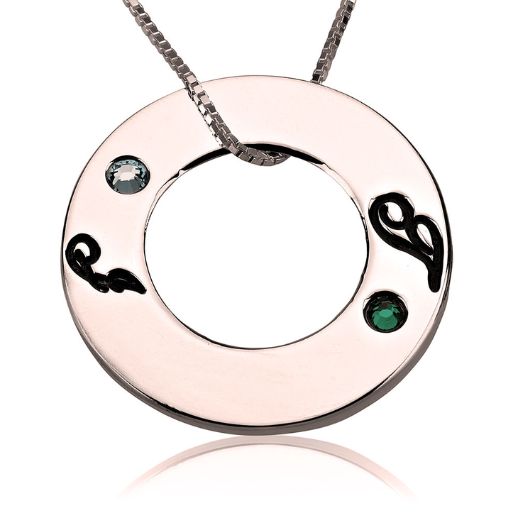 Family Initials Birthstone Necklace - Picture 3