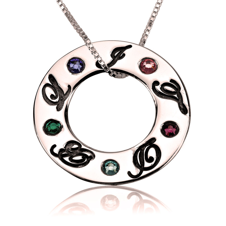 Family Initials Birthstone Necklace - Picture 5