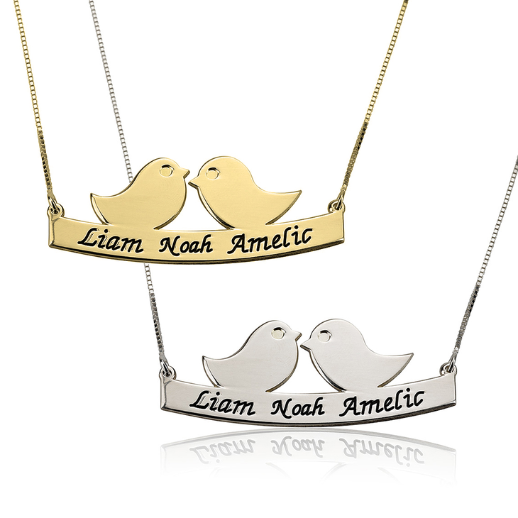 Mother Bird Necklace with Engrave Names