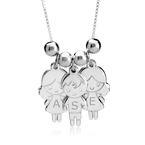 Mother's Necklace with Boy & Girls Charms - Thumb