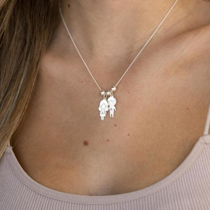 Mother Necklace with Boy & Girls Charms - Model