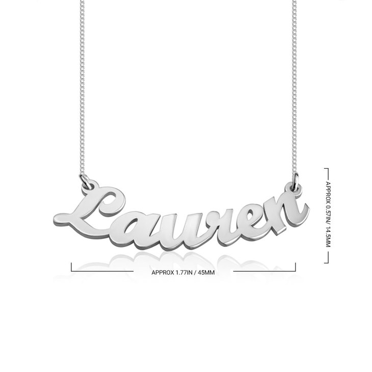 Curved Script Name Necklace - Information