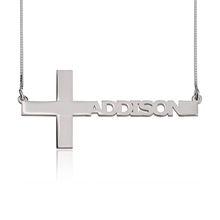 Cut Out Sideways Name Cross Necklace