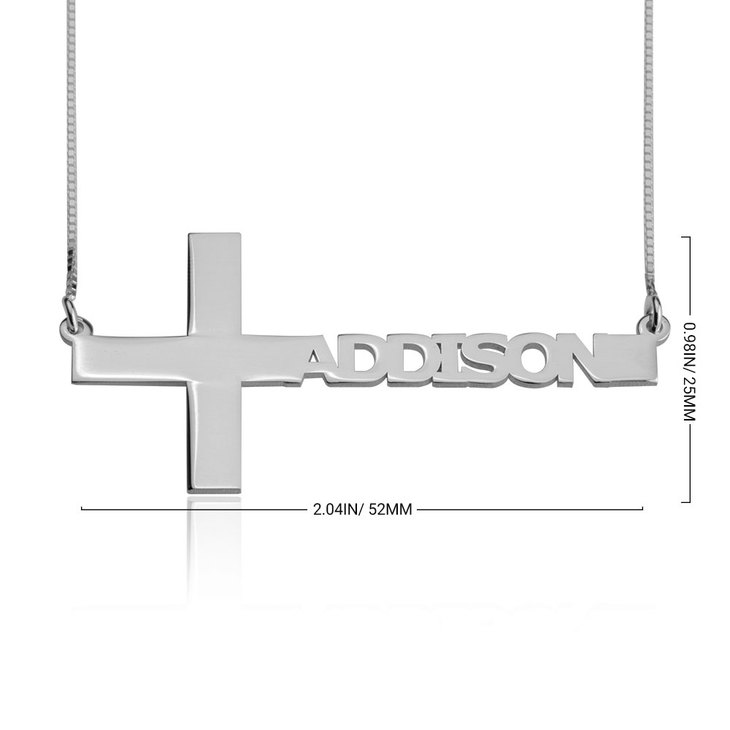 Cut Out Sideways Name Cross Necklace - Information