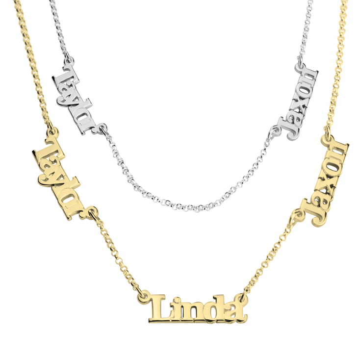 Multiple Name Necklace with Two or Three Names