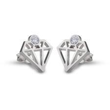 Aretes en Forma de Diamante con Zirconia
