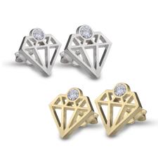 Boucles d'Oreilles Forme Diamant avec Zirconium