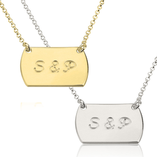Two Initial Horizontal Dog Tag Style Necklace
