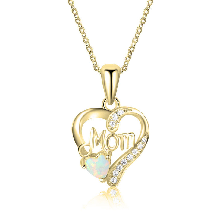 Mom Heart Necklace with Opal