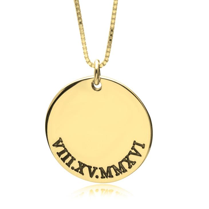 Roman Numeral Disc Necklace
