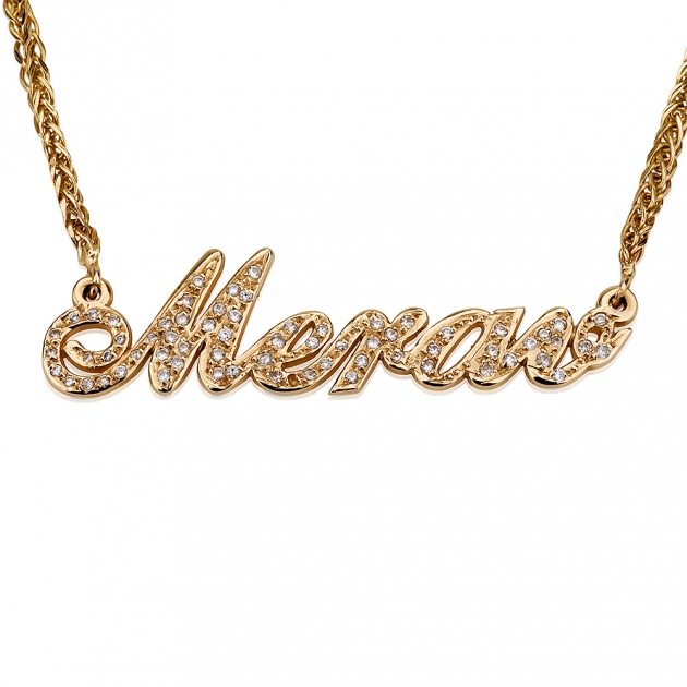 double thickness 14k yellow gold diamond name necklace. Black Bedroom Furniture Sets. Home Design Ideas