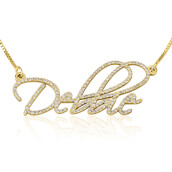 Double Thickness 14K Yellow Gold Diamond Name Necklace