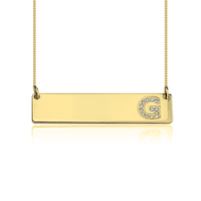 Bar Necklace with Cubic Zirconia Initial