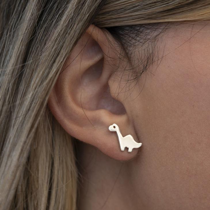 Baby Dinosaur Earrings - Model