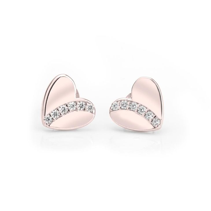 Cubic Zirconia Heart Stud Earrings
