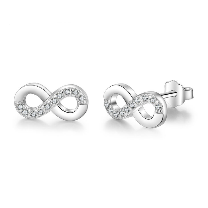 Cubic Zirconia Infinity Earrings