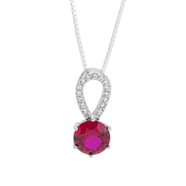 Garnet Crystal Necklace with Zirconia