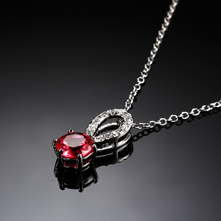 Garnet Crystal Necklace with Zirconia - Picture 2