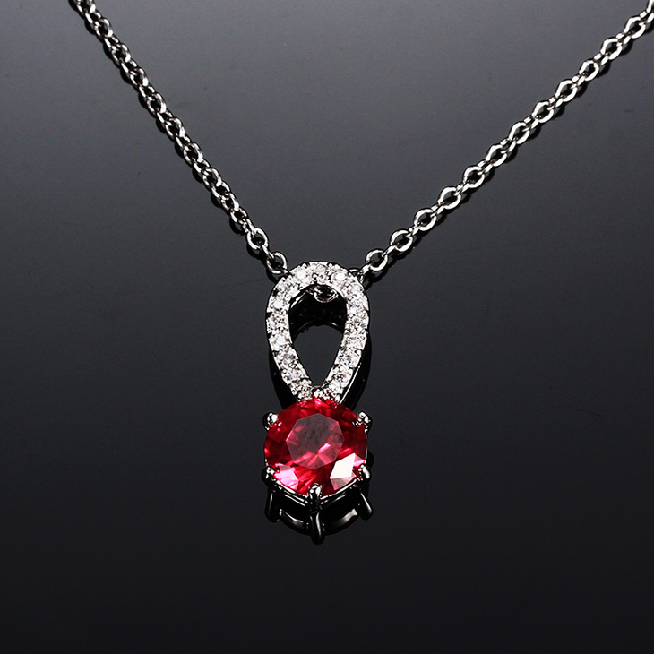 Garnet Crystal Necklace with Zirconia - Picture 3