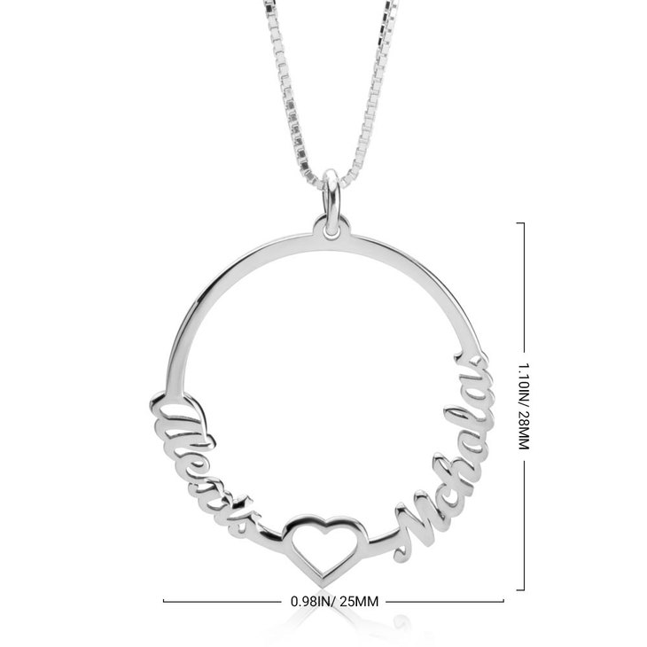 Two Names Circle And Heart Necklace - Information