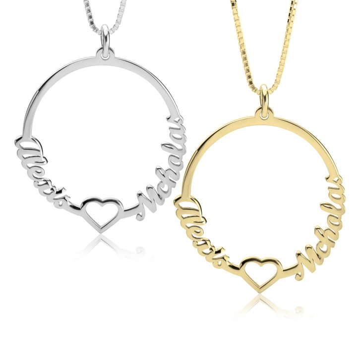 Two Names Circle And Heart Necklace
