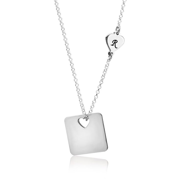 Cut Out Heart Necklace With Initial