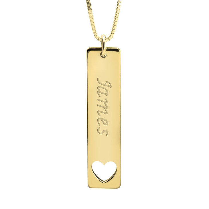 Vertical Name Bar Necklace With Symbol