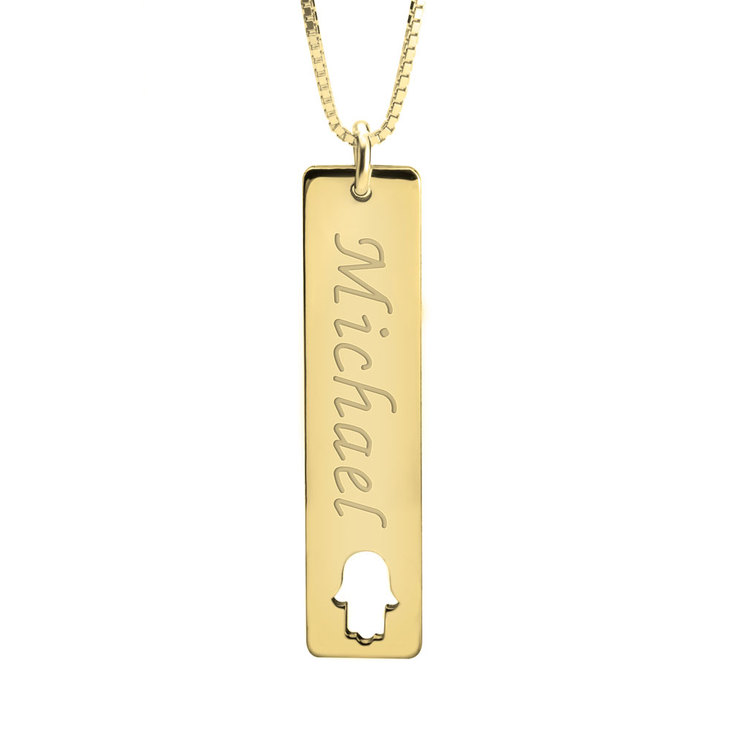Vertical Name Bar Necklace With Symbol - Picture 3