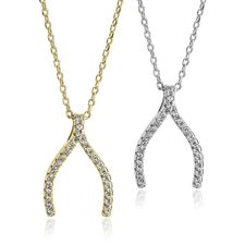Wishbone Necklace with Zirconia