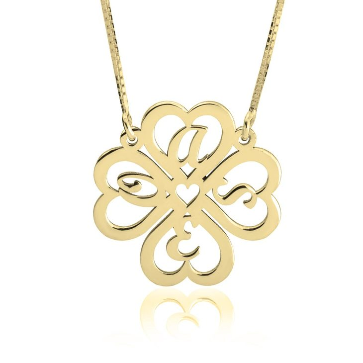 Personalized Four Leaf Clover Necklace - Picture 4
