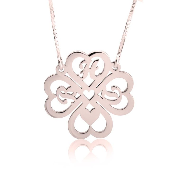 Personalized Four Leaf Clover Necklace - Picture 3