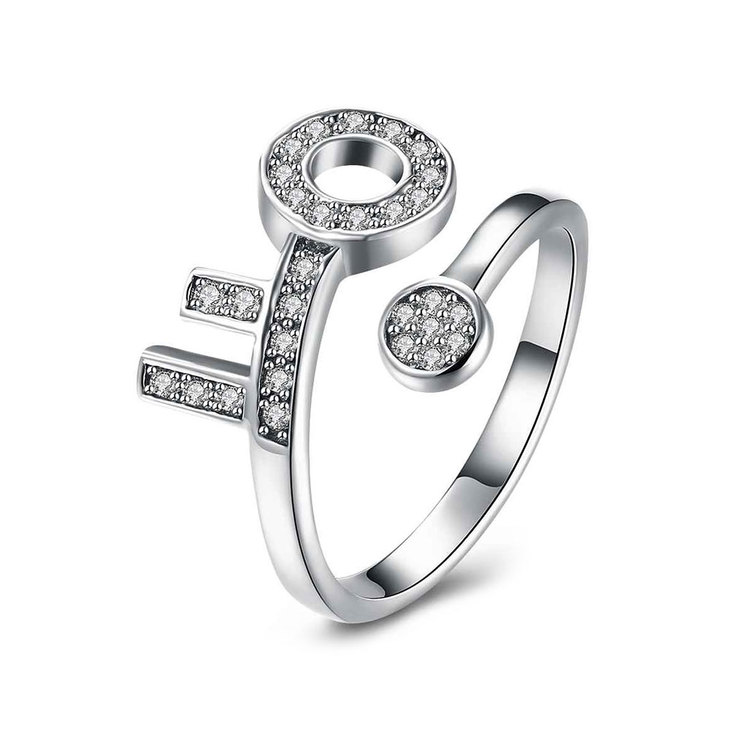 Open Ring With Key And Zirconia
