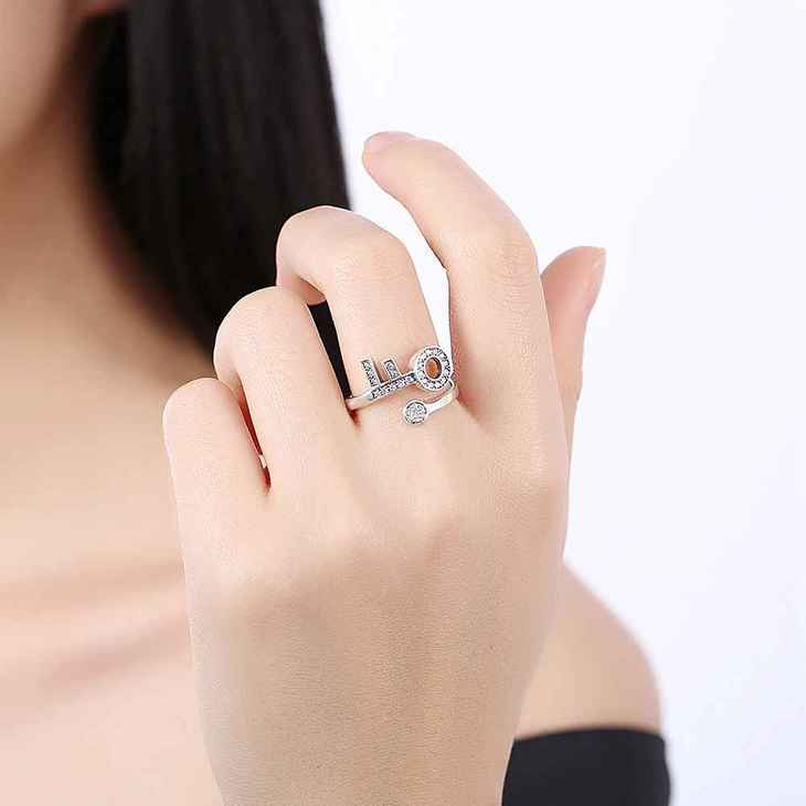 Open Ring With Key And Zirconia  - Picture 2