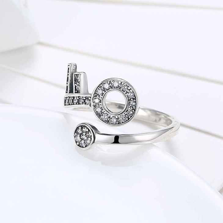 Open Ring With Key And Zirconia - Picture 3
