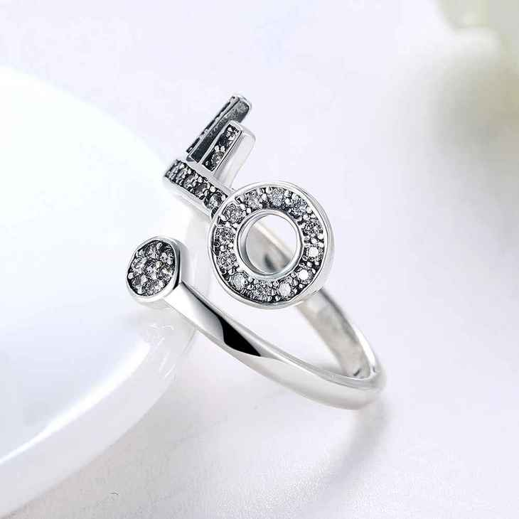 Open Ring With Key And Zirconia  - Picture 4