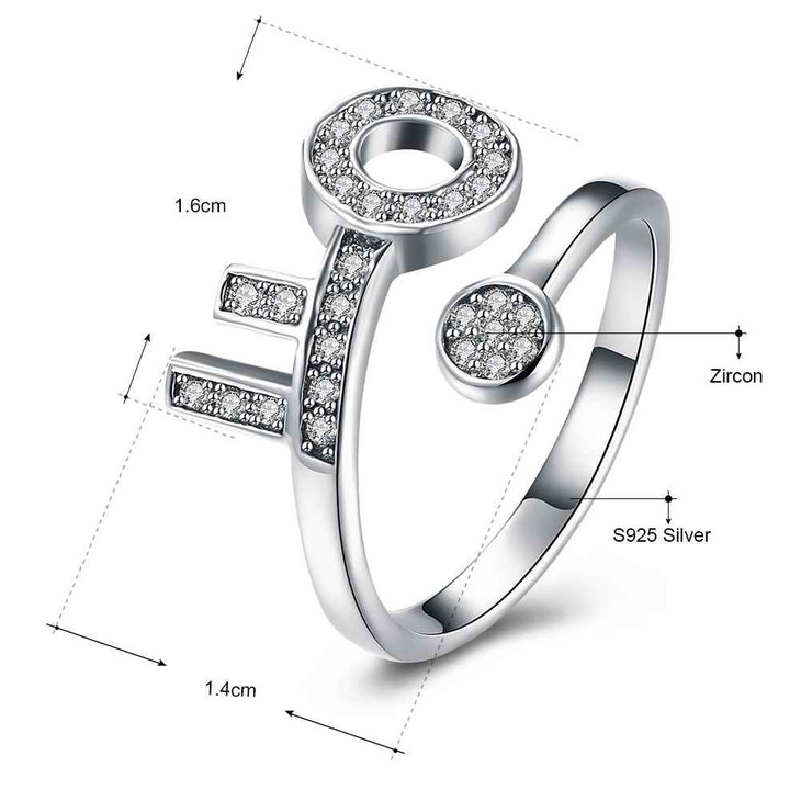 Open Ring With Key And Zirconia - Information