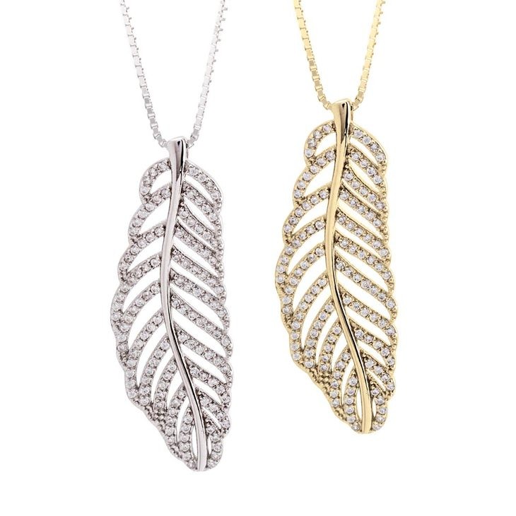 Feather Necklace With Cubic Zirconia