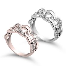 Chain Ring With Cubic Zirconia