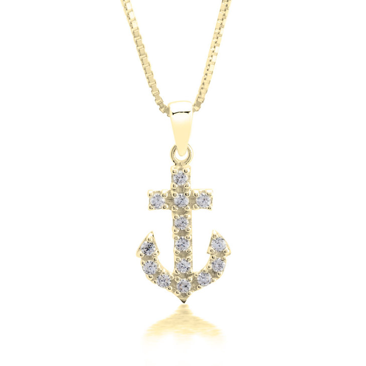 Anchor Pendant Necklace With Cubic Zirconia