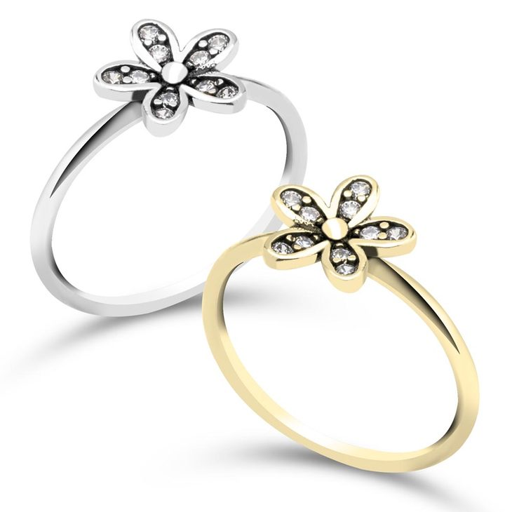 Flower Ring With Cubic Zirconia