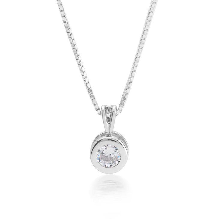 Cubic Zirconia Solitaire Necklace
