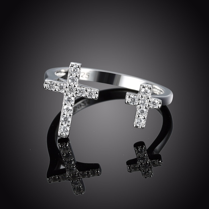 Double Cross Ring With Cubic Zirconia  - Picture 3