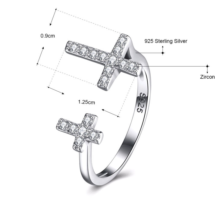Double Cross Ring With Cubic Zirconia - Information