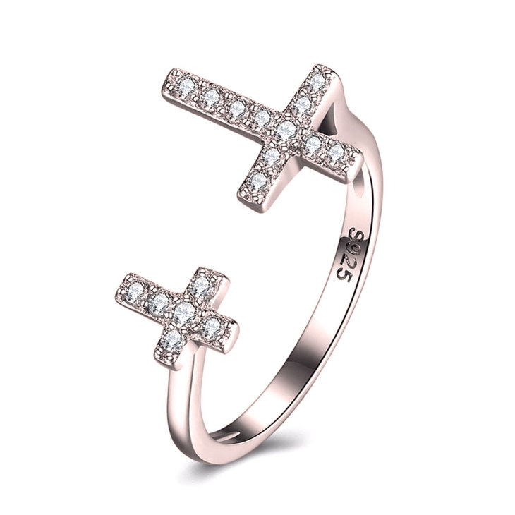 Double Cross Ring With Cubic Zirconia
