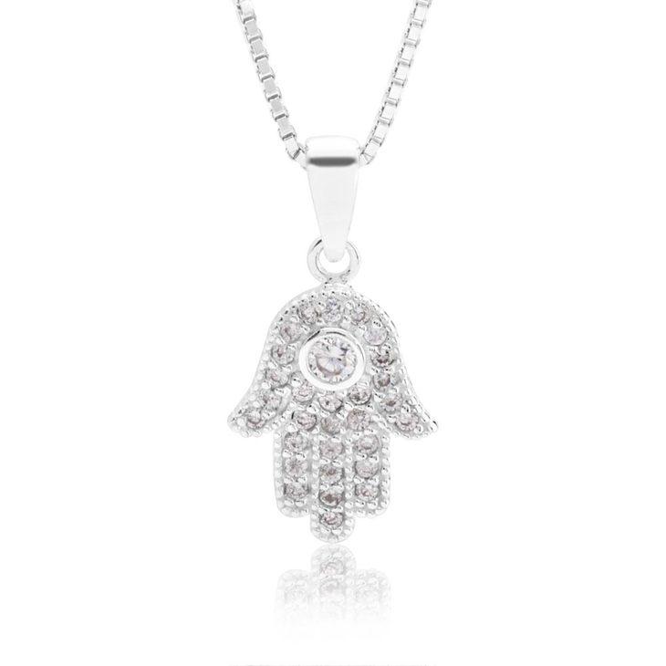Hamsa Hand Necklace With Cubic Zirconia
