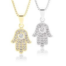 Hamsa Hand Necklace With Cubic Zirconia
