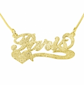 Sparkling 14k Gold Carrie Name Necklace with Side Heart